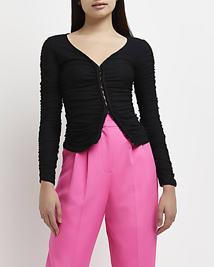Black ruched fitted cardigan