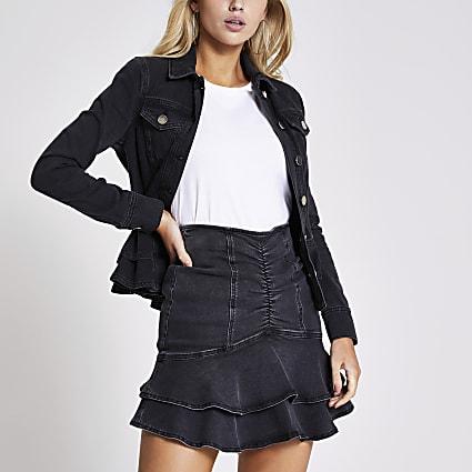 Black ruched frill mini denim skirt
