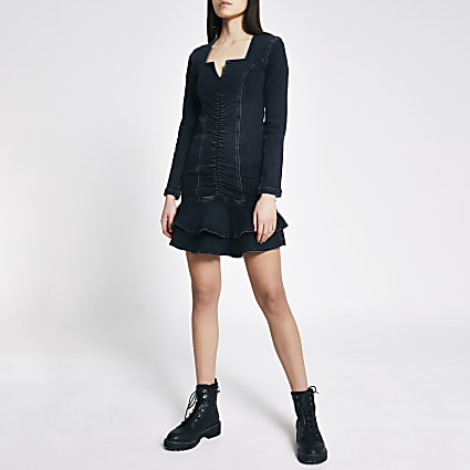 Black ruched front frill denim mini dress