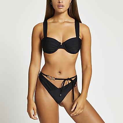 Black ruched gold detail belted bikini briefs