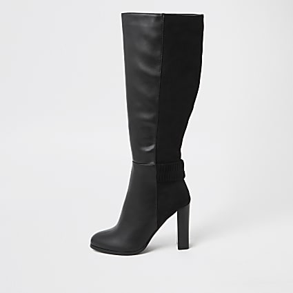 Black ruched high leg boots