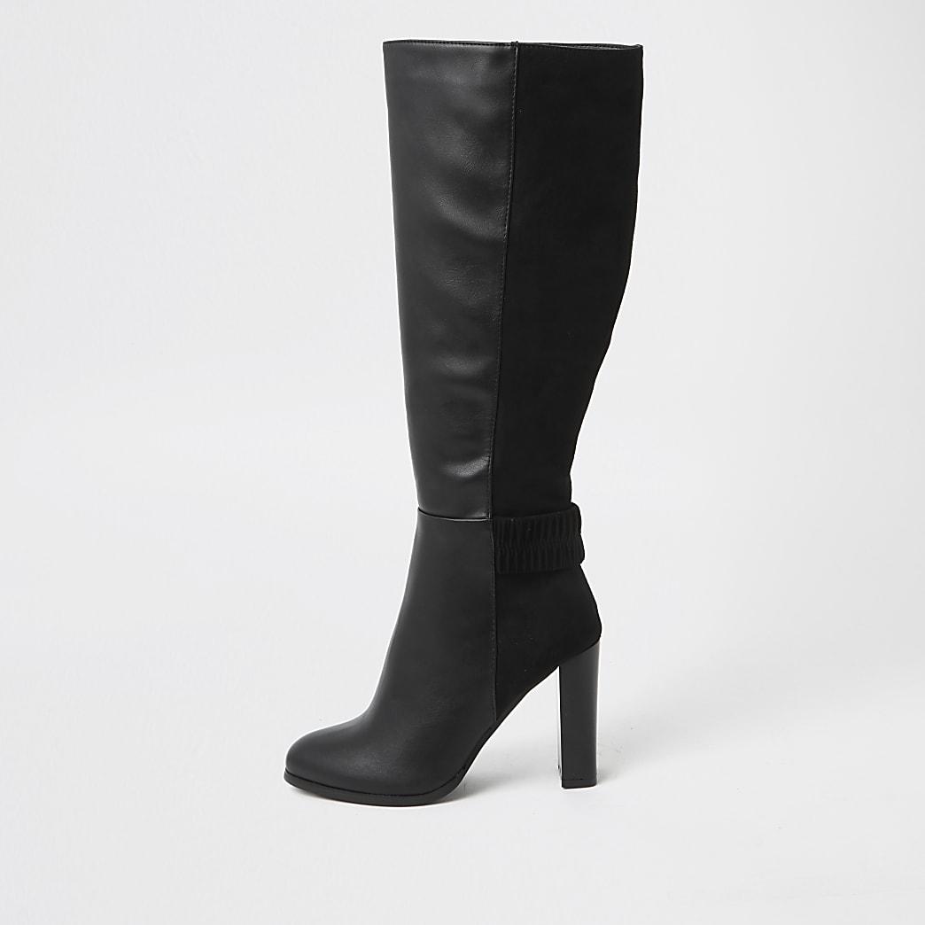Black ruched high leg boots