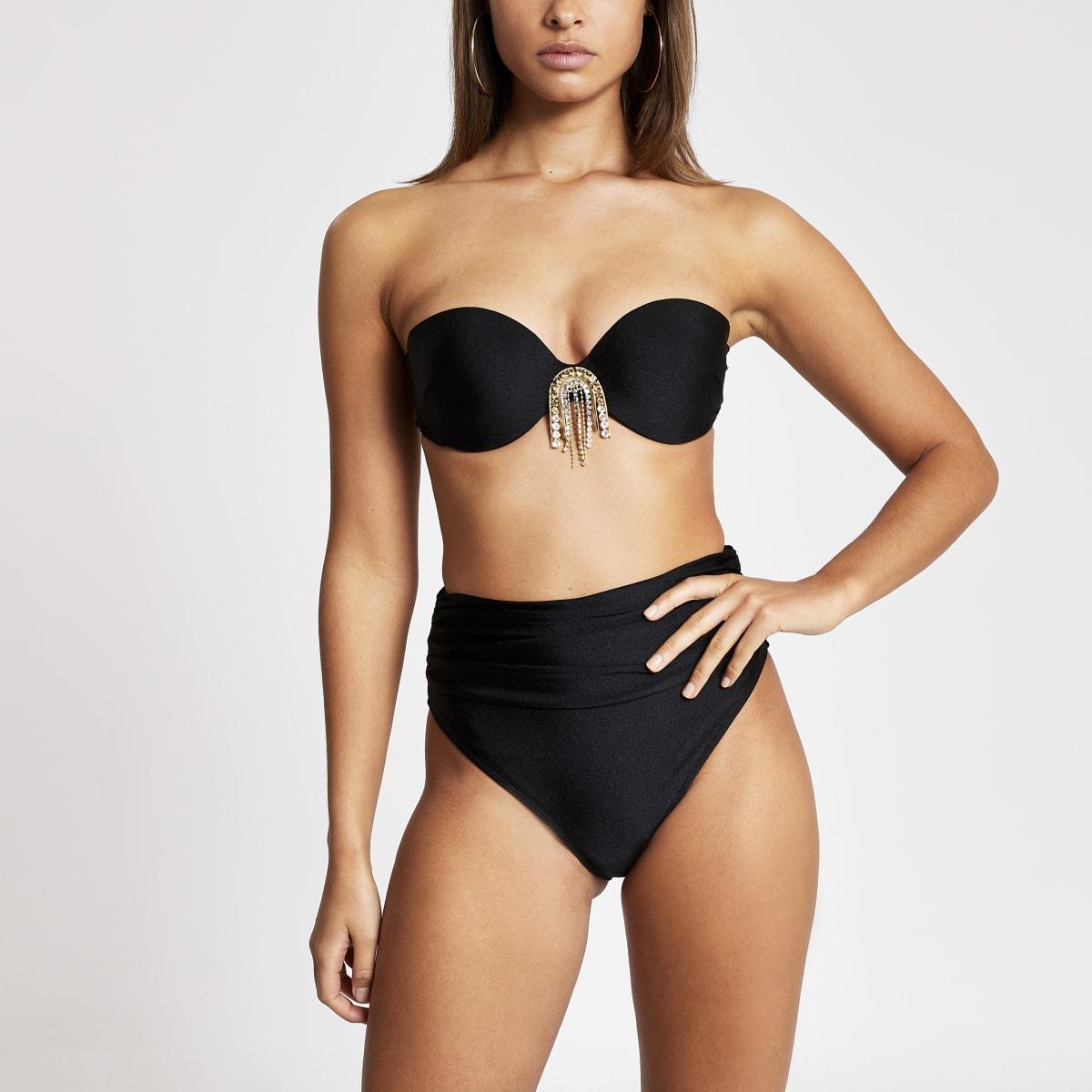 Schwarze Bikinihosen mit Rüschen und hohem Bund