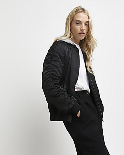 Black ruched hooded bomber jacket