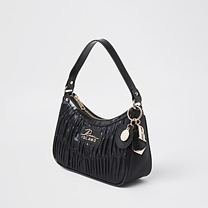 Black ruched RI shoulder bag