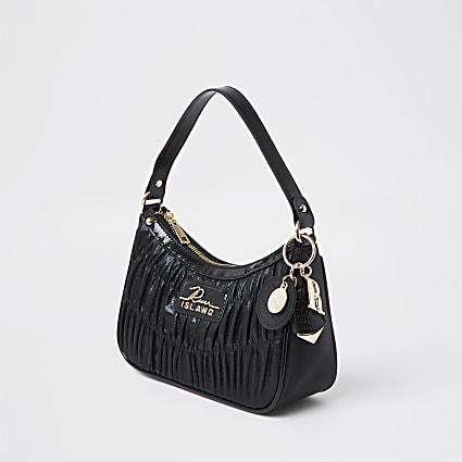 Black ruched RI shoulder bag