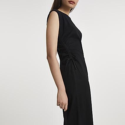 Black ruched side midi dress