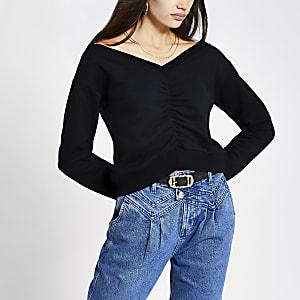 Kurze, gerafftes Sweatshirt in Schwarz mit V-Ausschnitt
