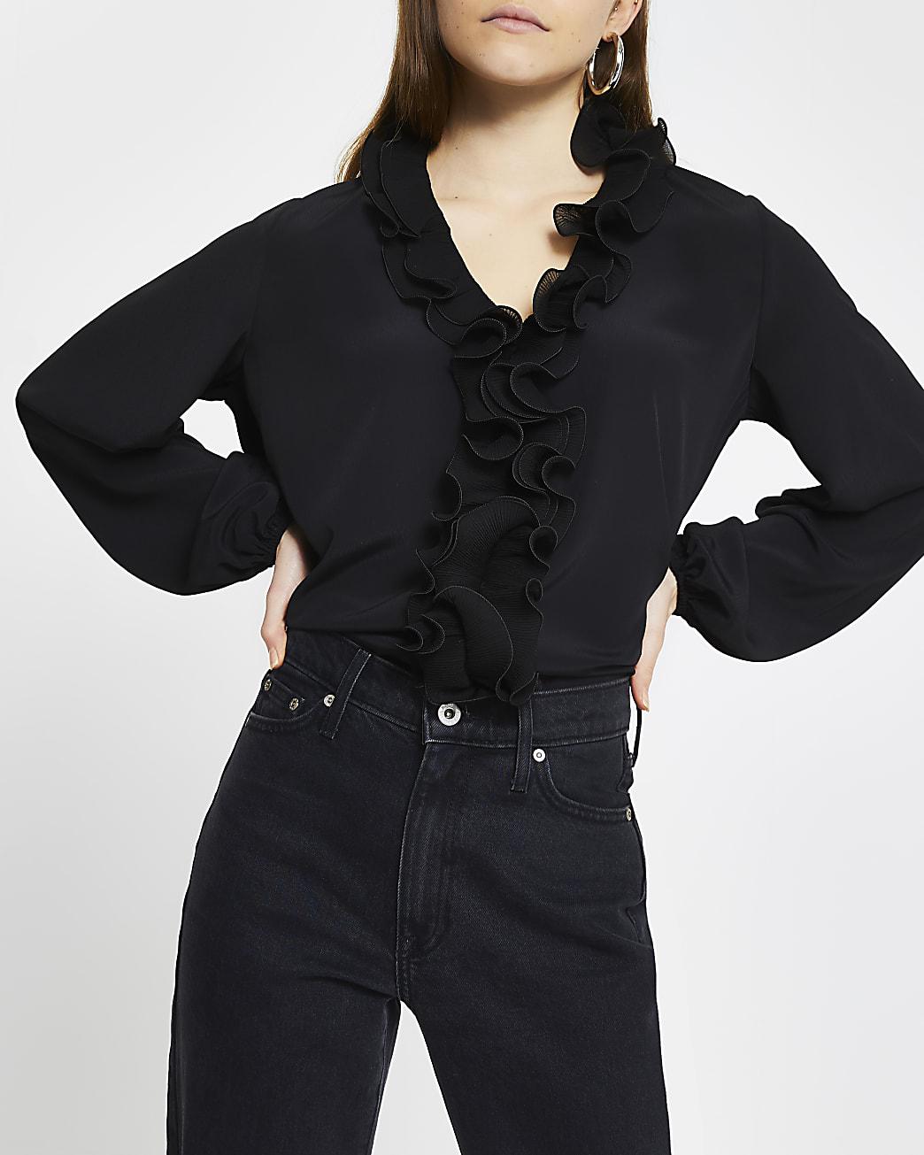 Black ruffle plisse long sleeve blouse top