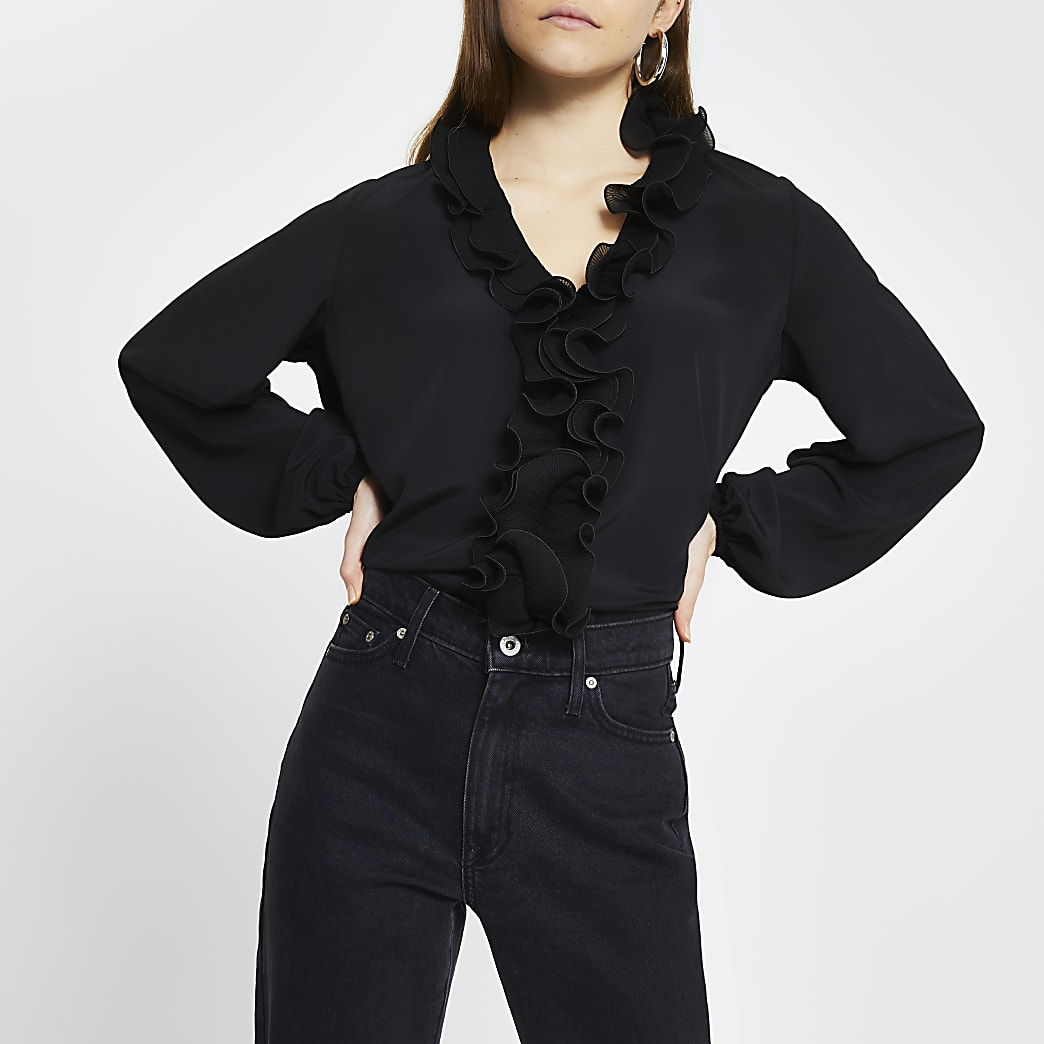 Black ruffle plisse long sleeve blouse top