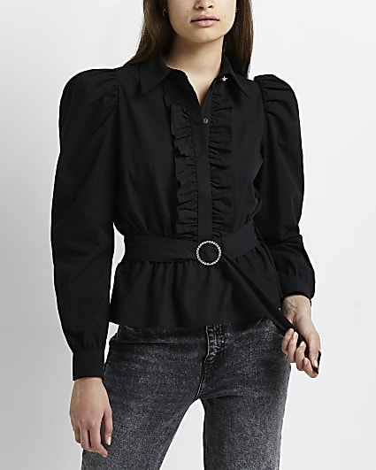 Black ruffled belted blouse