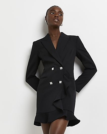 Black ruffled blazer dress