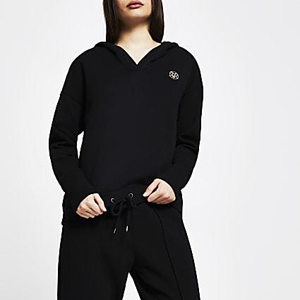 Black 'RVR' long sleeve hoodie