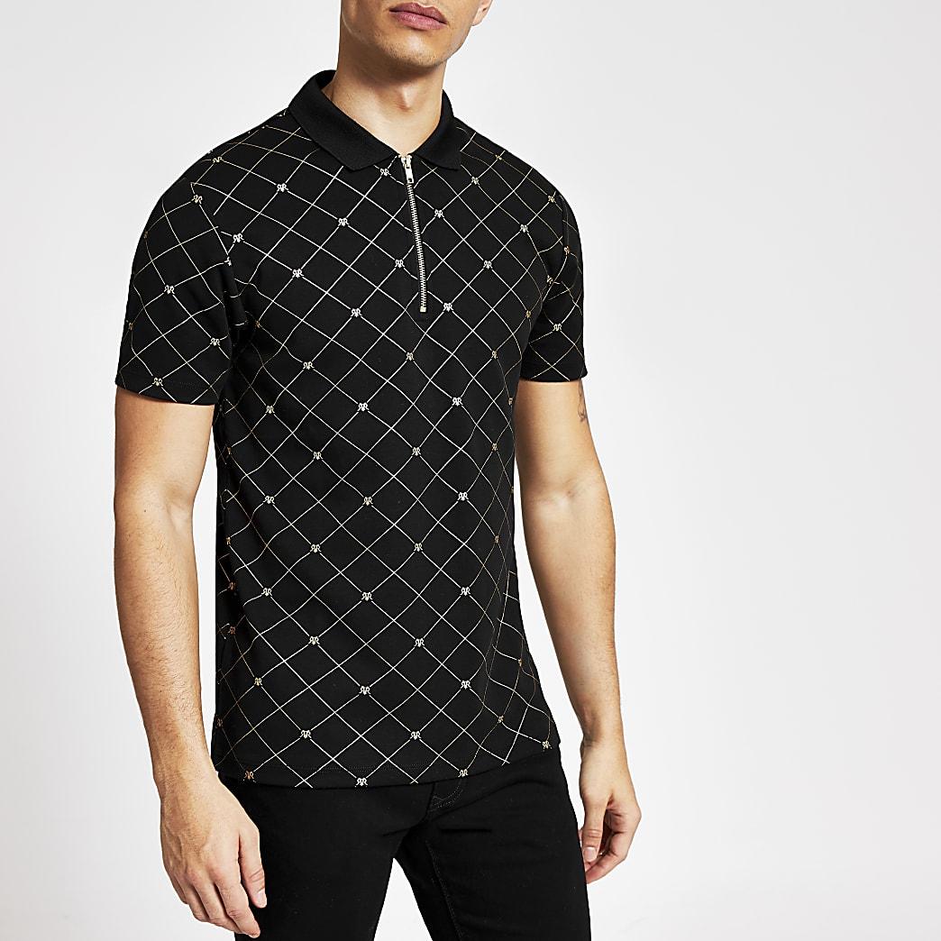 Schwarzes Poloshirt mit RVR-Print und kurzem Reißverschluss