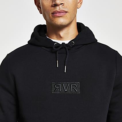 Black RVR slim fit hoodie
