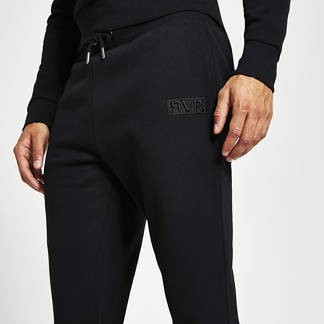 Black RVR slim fit joggers