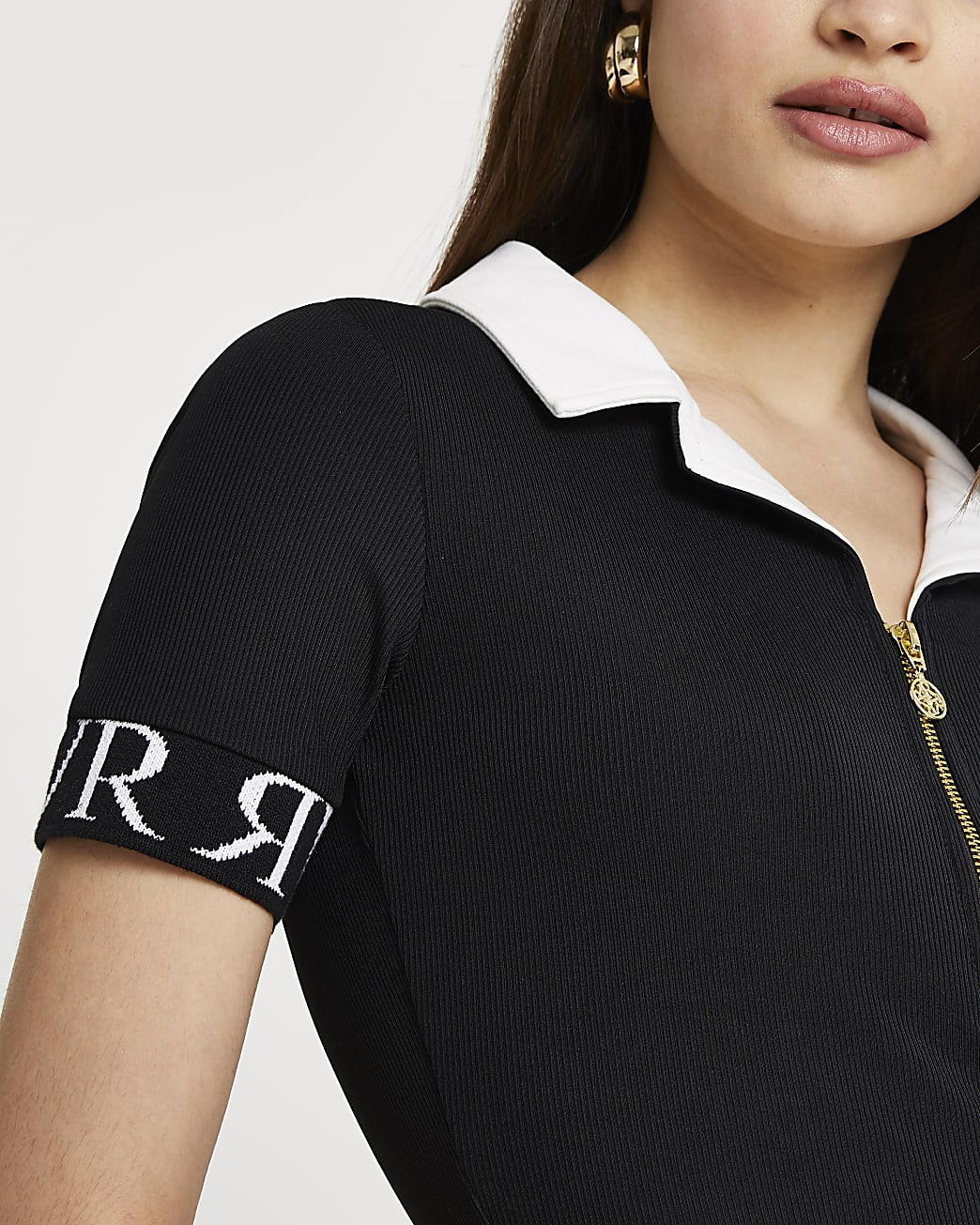 Black 'RVR' Zip through polo shirt