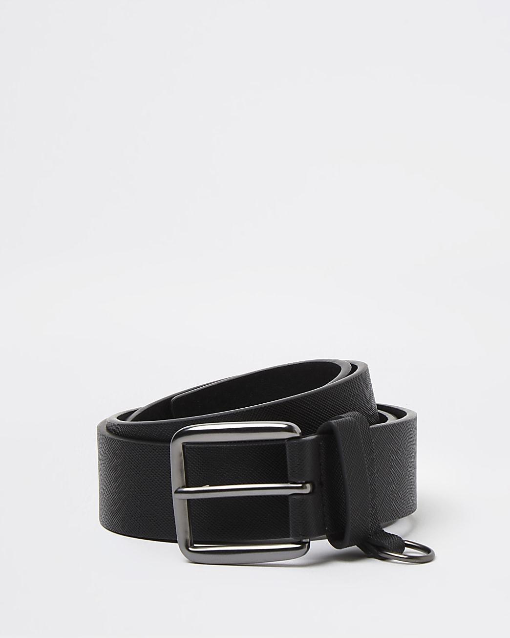 Black saffiano d ring belt
