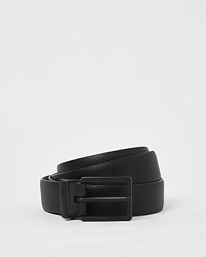 Black saffiano reversible belt