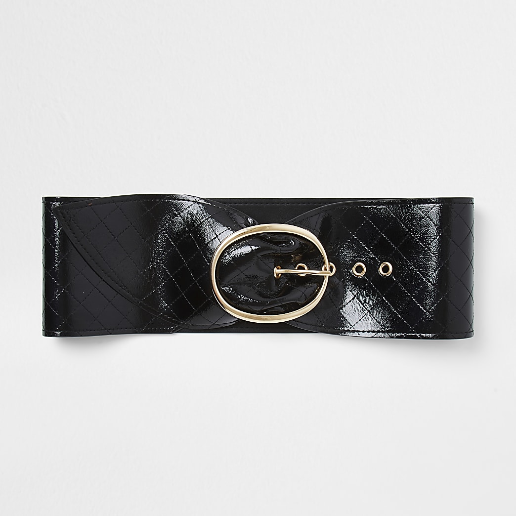 Black sash quilted waist belt