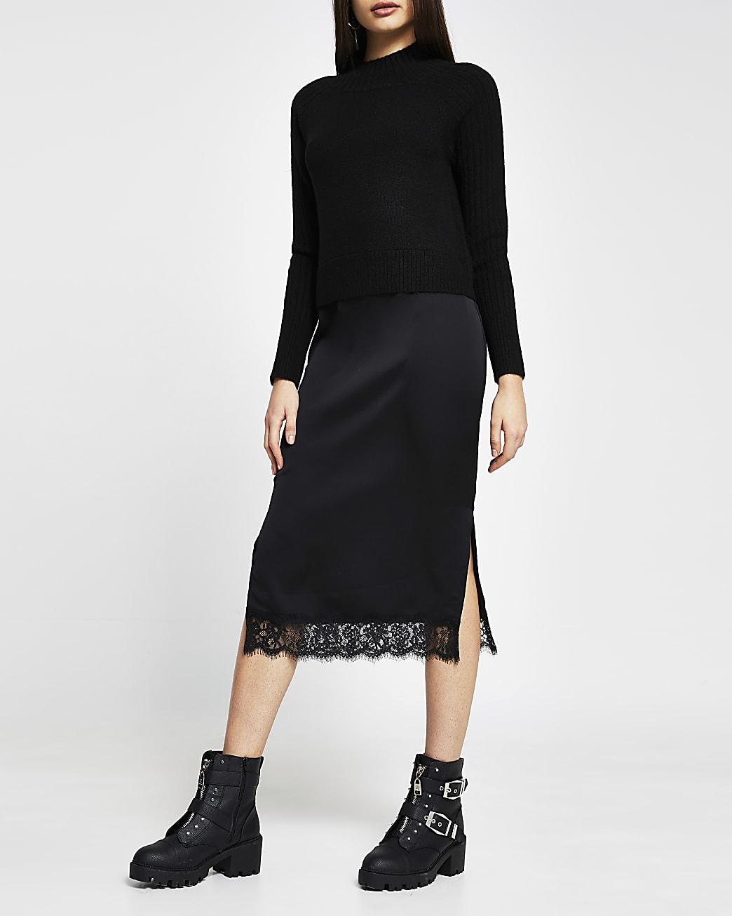 Black satin 2 in 1 midi dress