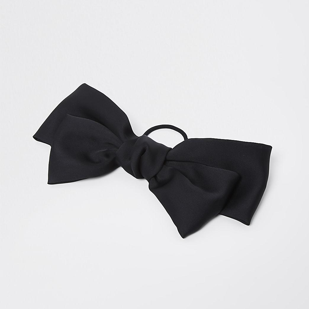 Black satin bow hair clip