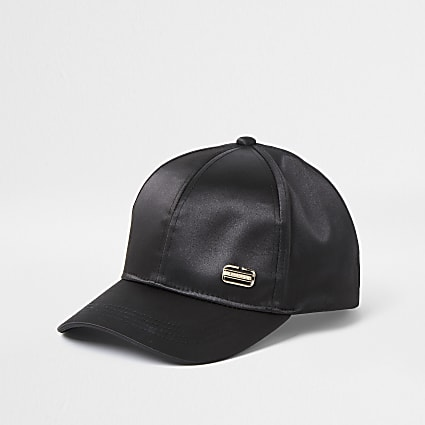 Black satin branded cap