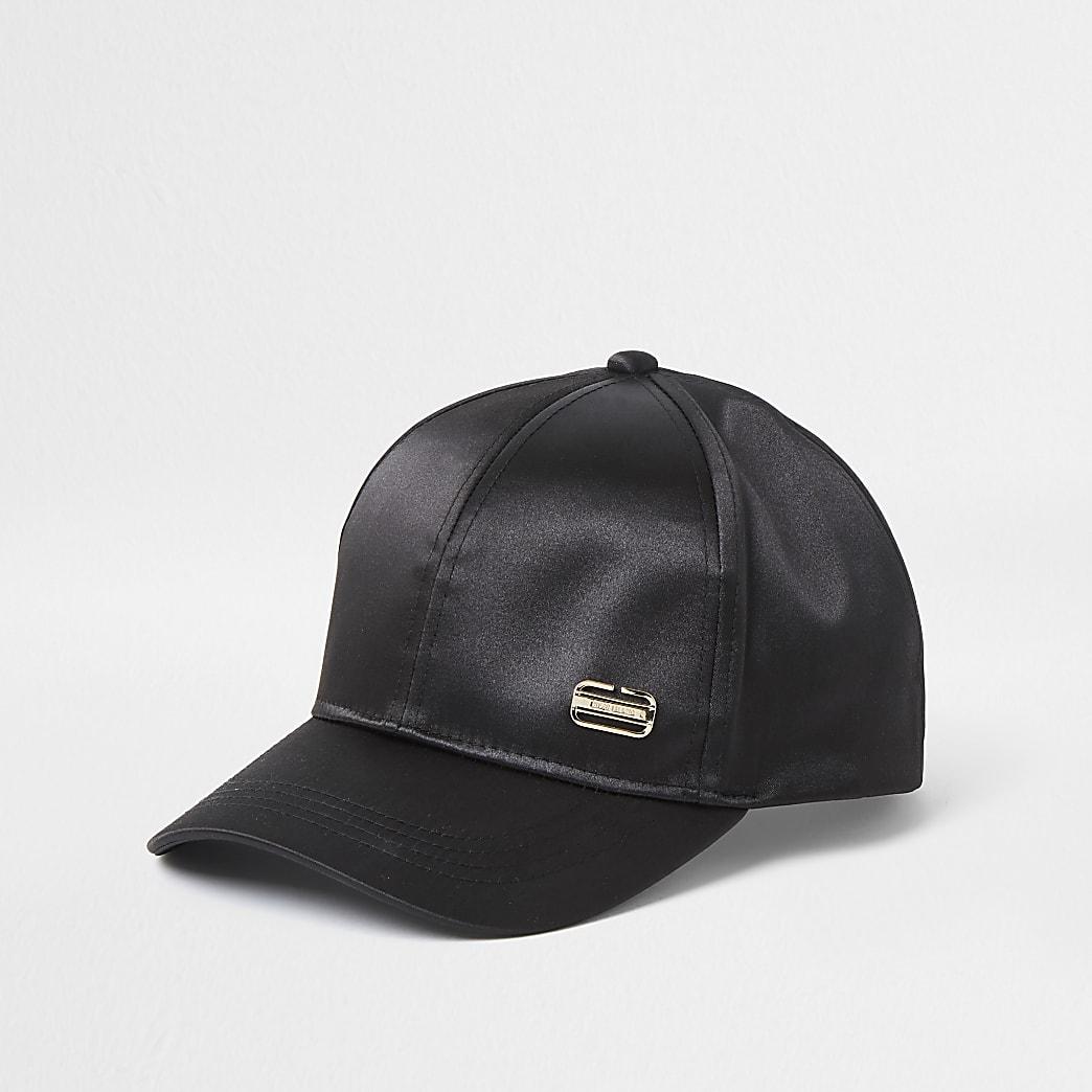 Black satin branded cap