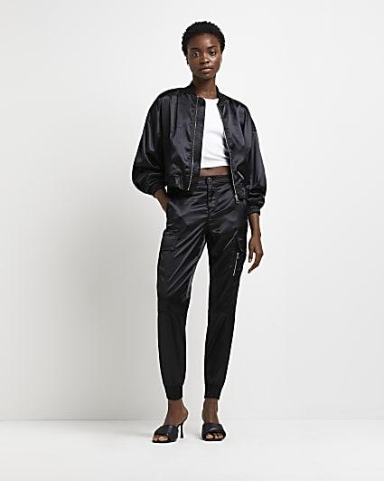 Black satin cargo trousers