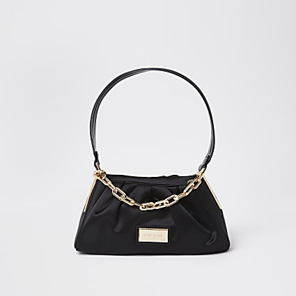 Black satin chain shoulder bag