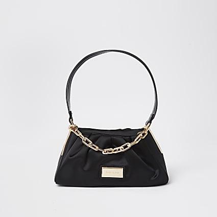 Black satin chain shoulder bag
