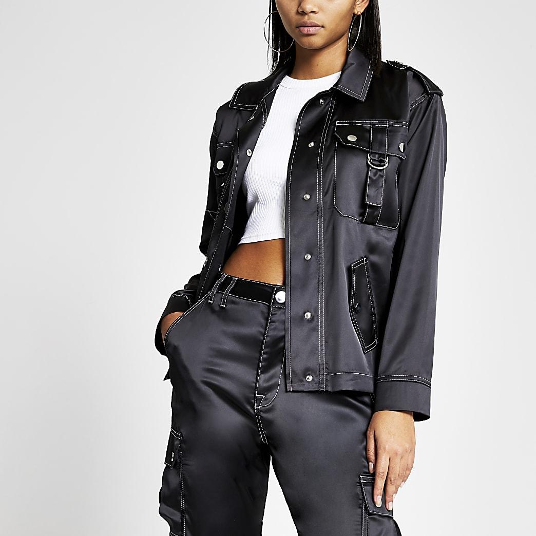 Black satin contrast stitch jacket