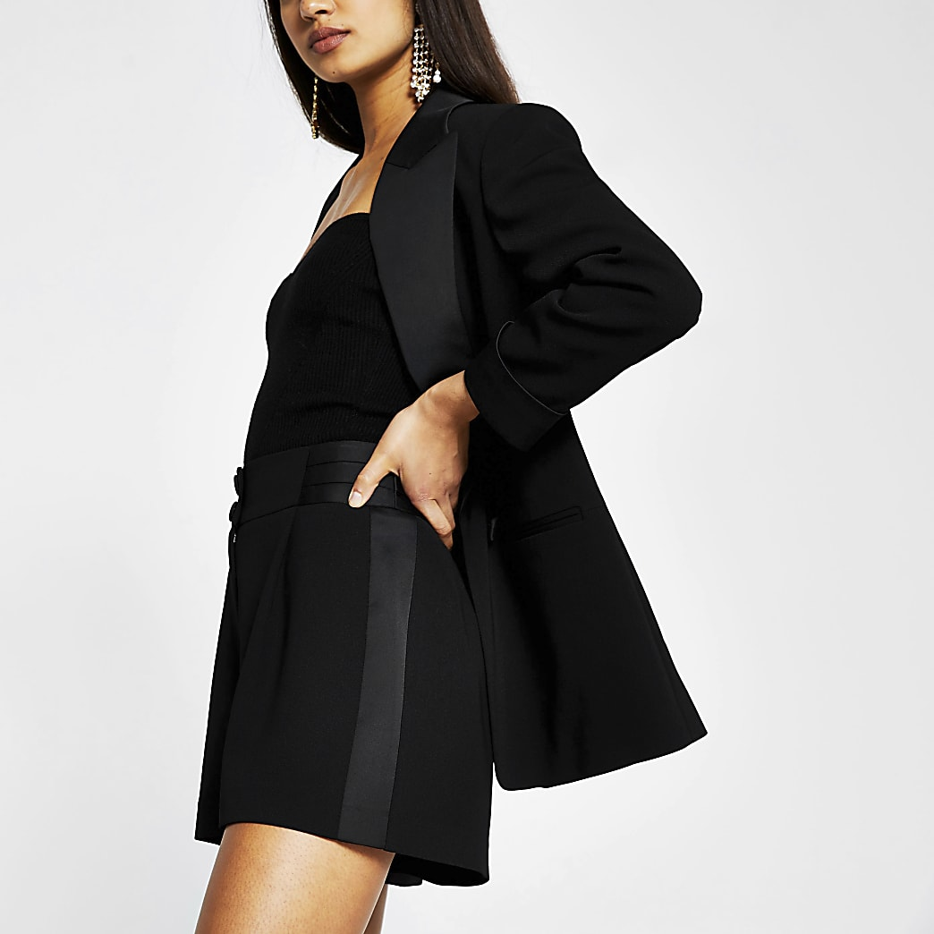 Black satin contrast tux shorts