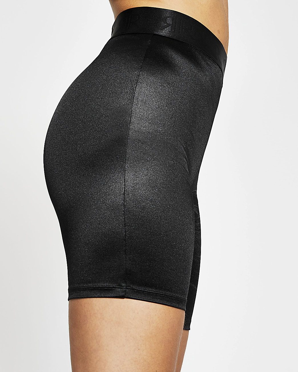 Black satin cycling short
