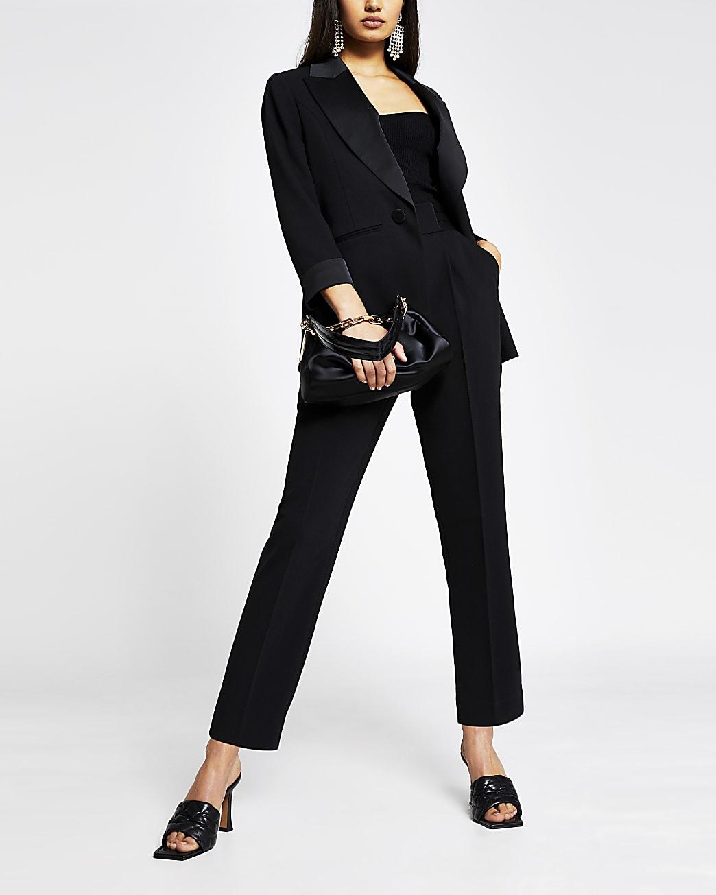 Black satin detail tux skinny trousers