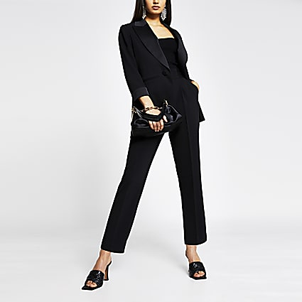 Black satin detail tux skinny trousers