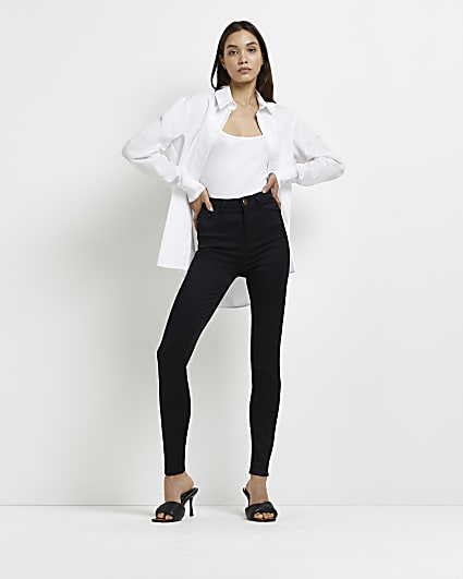 Black satin high waisted skinny jeans