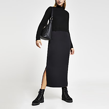 Black satin Long Sleeve Midi Jumper dress