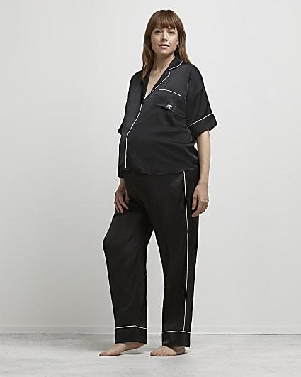 Black satin maternity pyjama bottoms