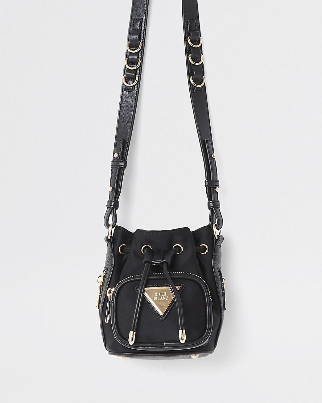 Black satin mini duffle bag