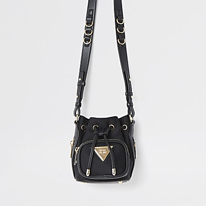 Black satin mini duffle bag