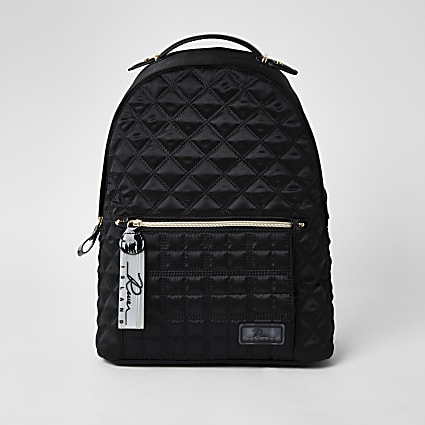 Black satin quilted backpack