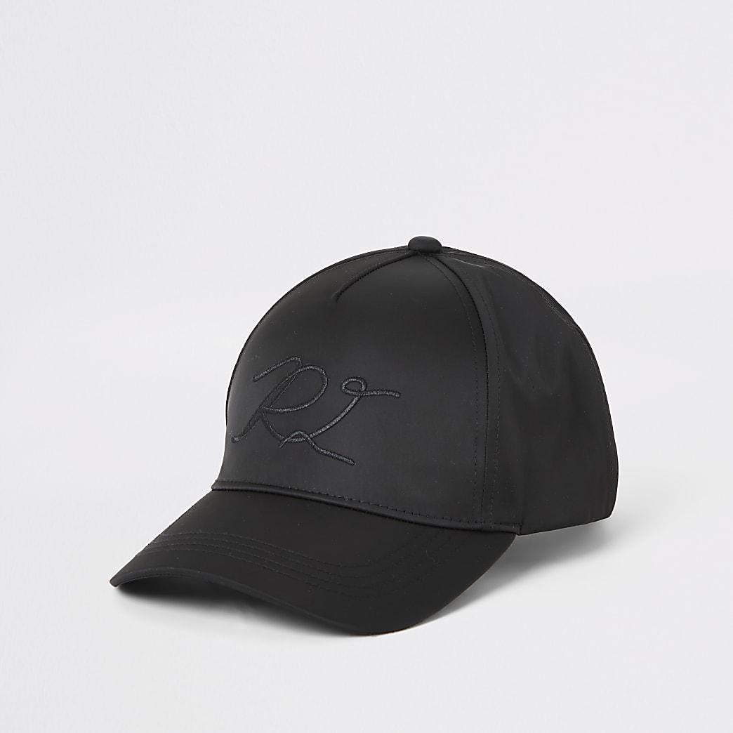 Black satin RI embroidered hat