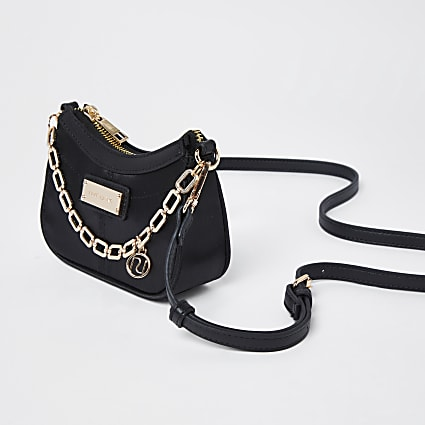 Black satin scoop chain mini shoulder bag