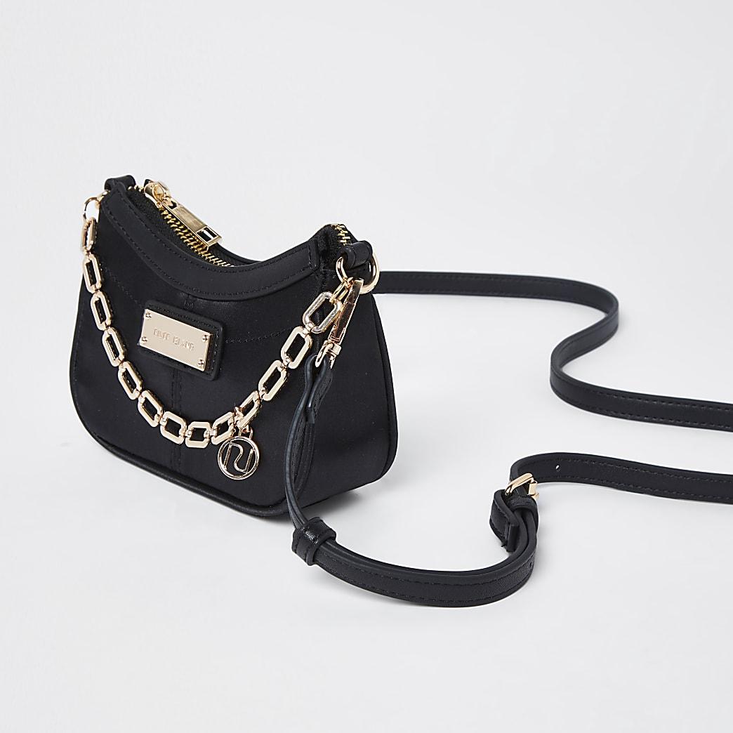 Black satin scoop chain mini shoulder bag