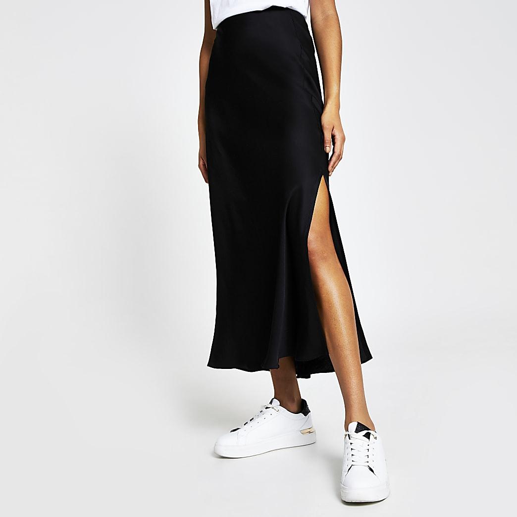 Black Satin side split midi skirt