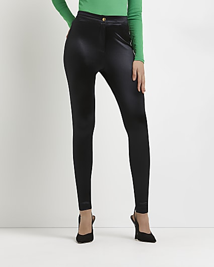 Black satin skinny trousers