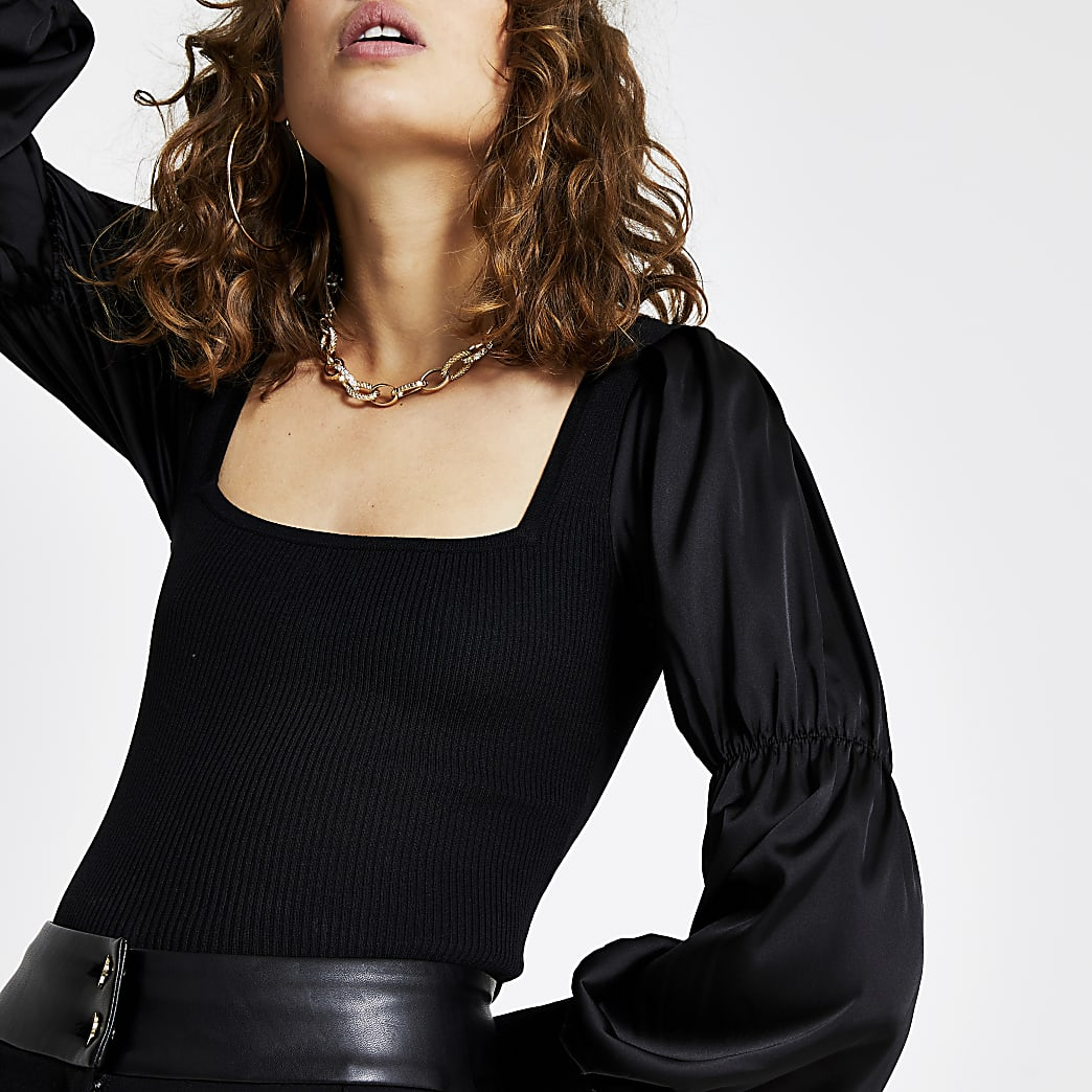 Black satin sleeve ribbed top