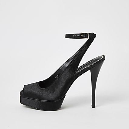 Black satin sling back platform sandals