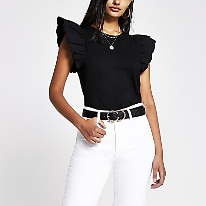 Black scallop edge t-shirt